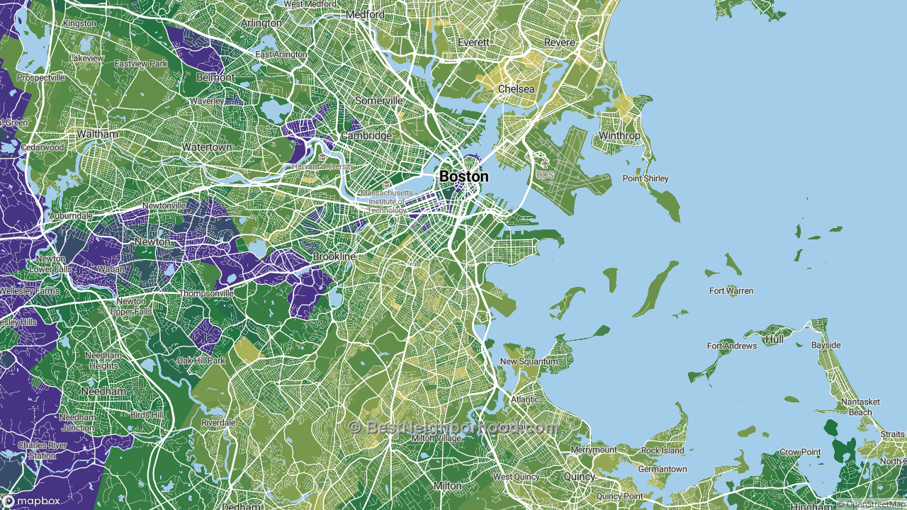 The Best Neighborhoods in Boston, MA by Home Value ... Boston Ma Area Map on