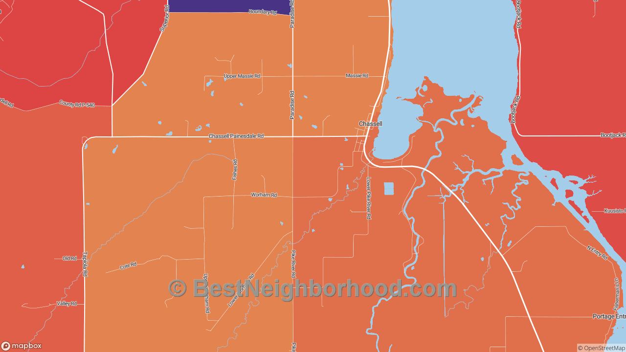 Chassell, MI Map of DSL Internet Availability