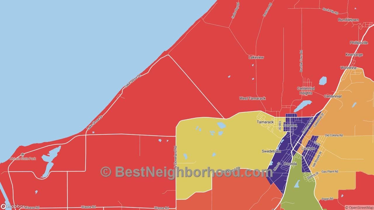 Tamarack, MI Map of DSL Internet Availability