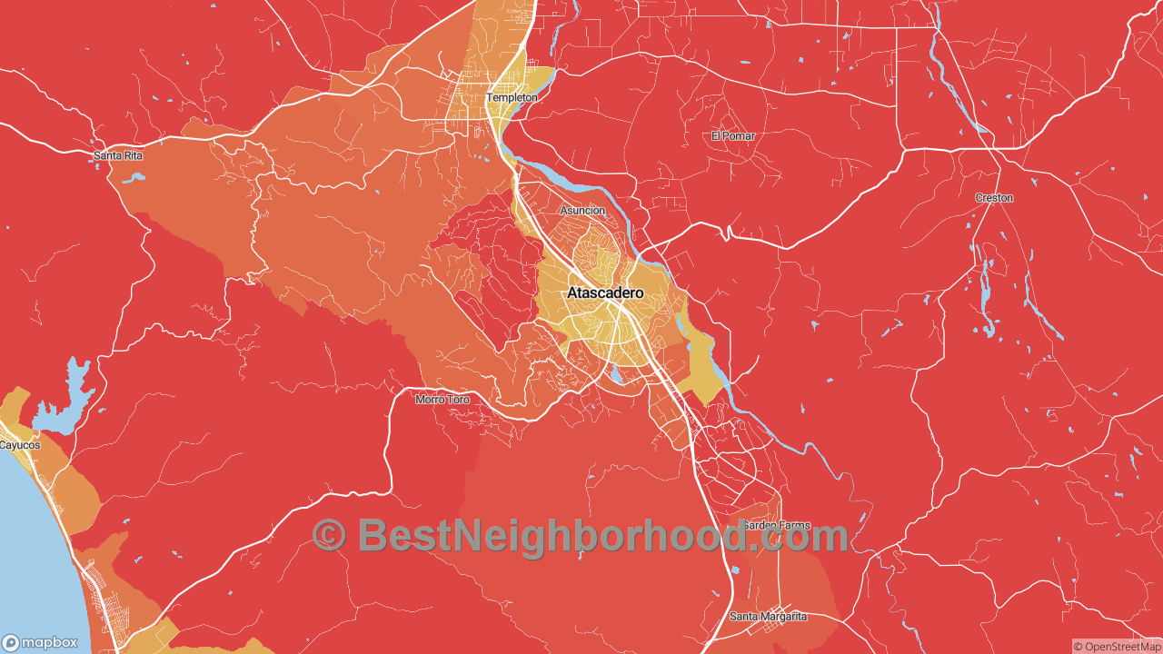 Atascadero, CA Map of DSL Internet Speeds