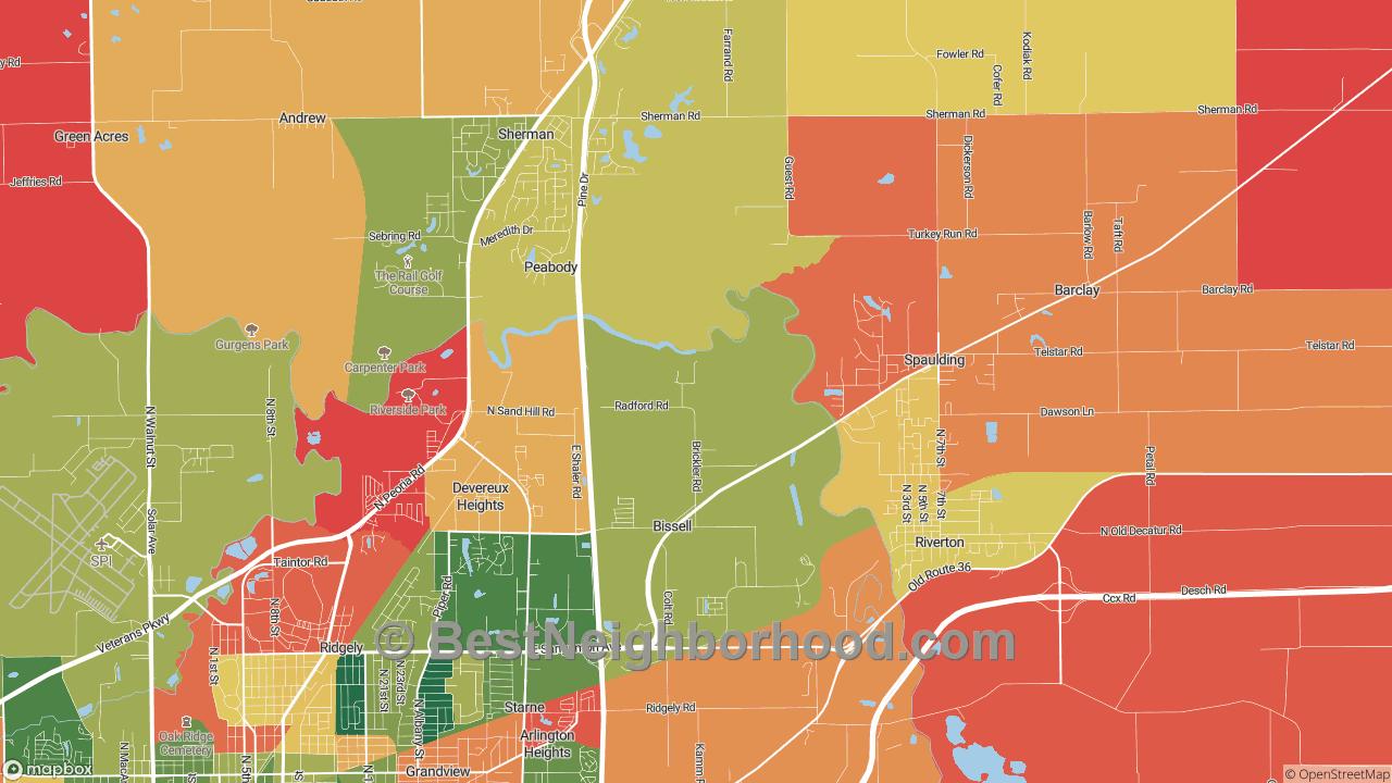 Bissell, IL Map of DSL Internet Speeds