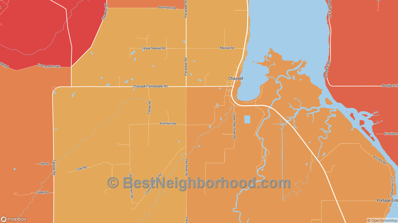 Chassell, MI Map of DSL Internet Speeds
