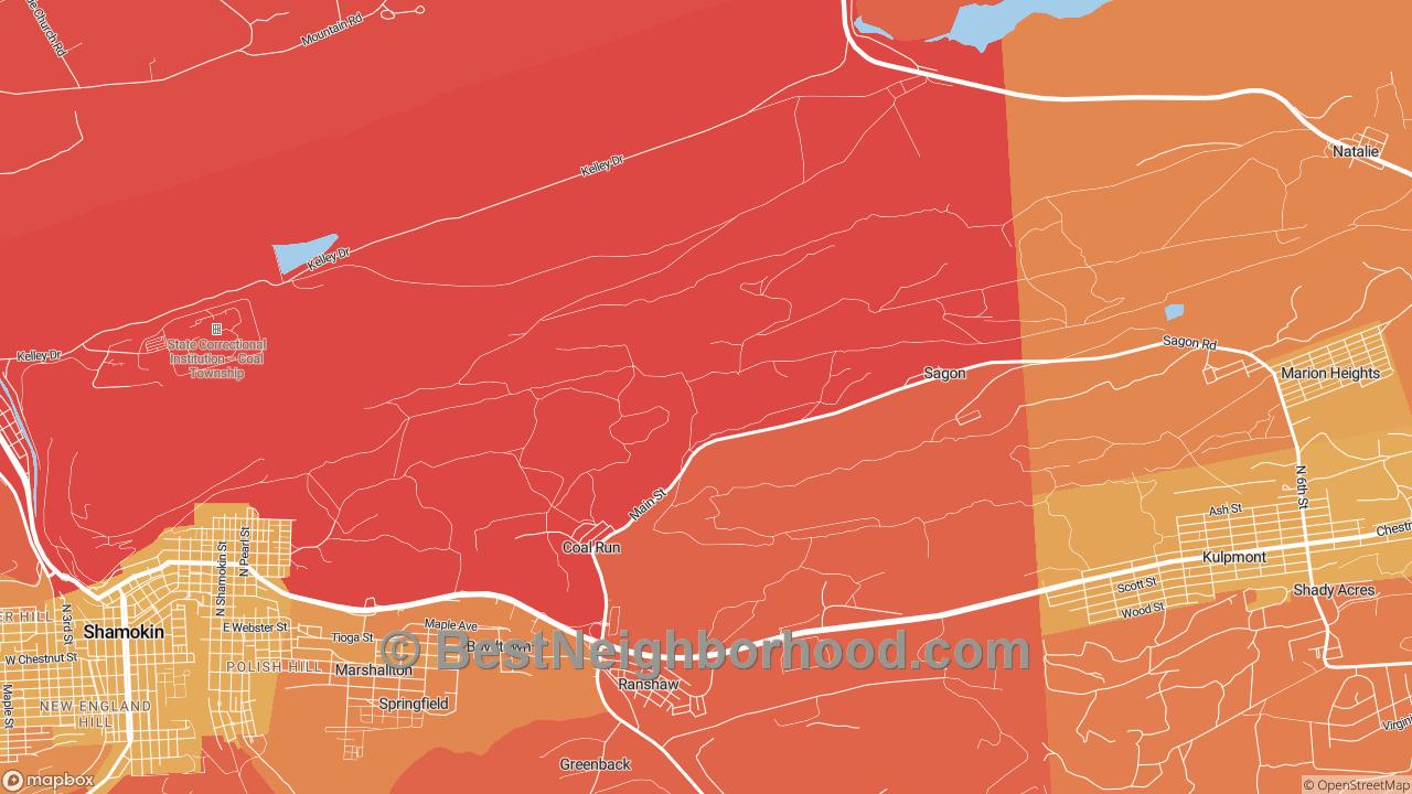 Coal Run, PA Map of DSL Internet Speeds
