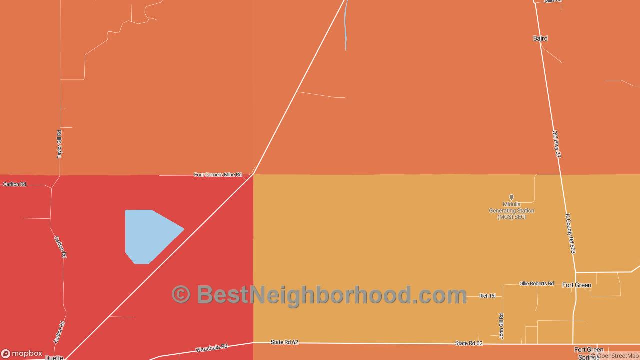 Duette, FL Map of DSL Internet Speeds