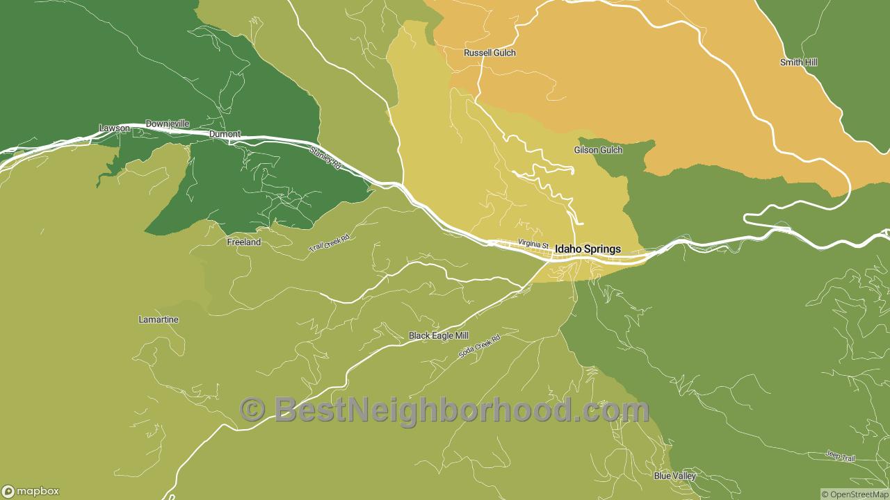 Idaho Springs, CO Map of DSL Internet Speeds