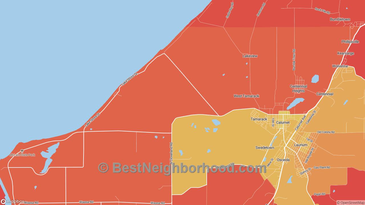 Tamarack, MI Map of DSL Internet Speeds