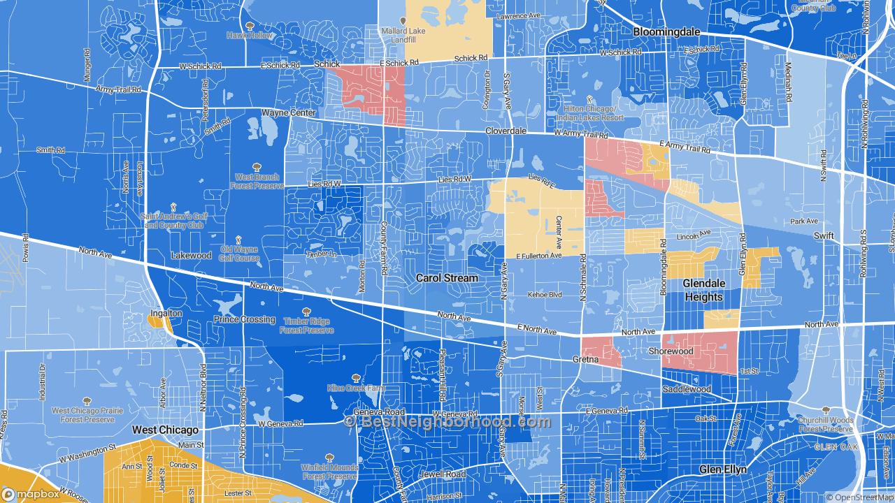 Carol Stream Il >> Race Map For Carol Stream Il And Racial Diversity Data