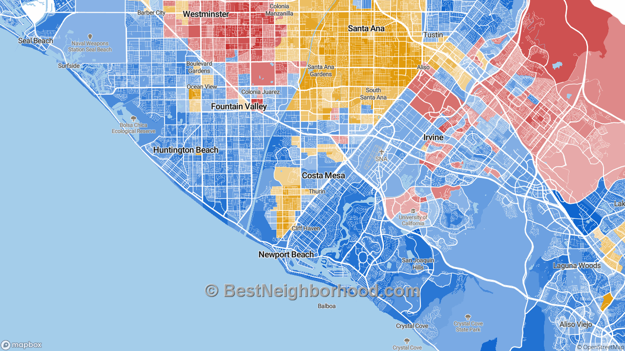 Costa Mesa, CA Map of Race and Ethnicity