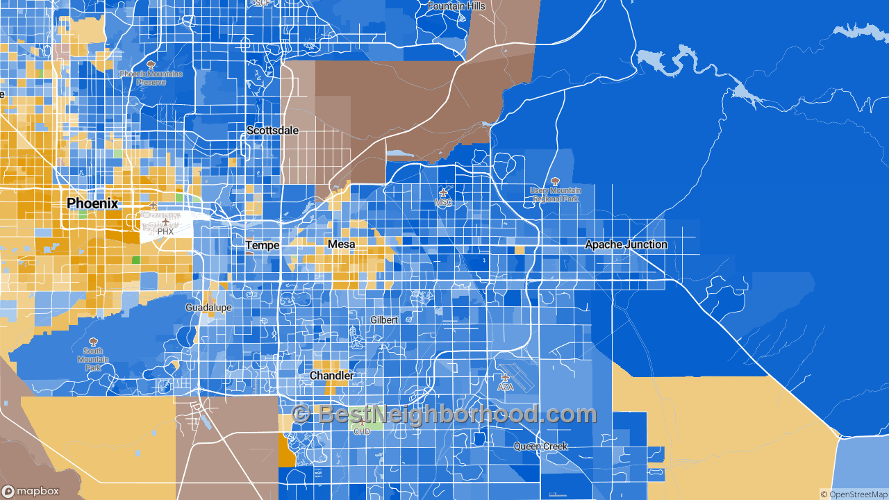 Race Map for Mesa, AZ and Racial Diversity Data | | bestneighborhood.com