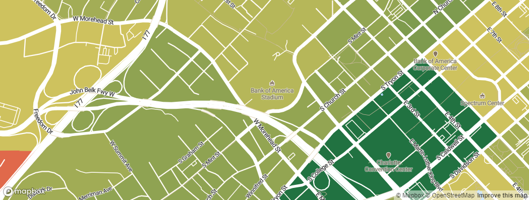 Neighborhoods near the Carolina Panthers Bank of America Stadium