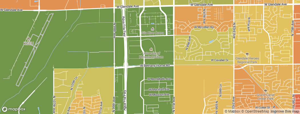 Neighborhoods near the Arizona Cardinals University of Phoenix Stadium