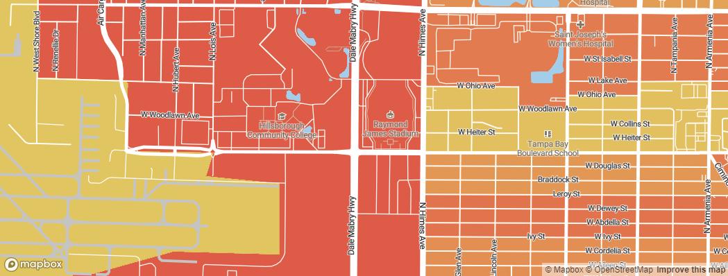 Neighborhoods near the Tampa Bay Buccaneers Raymond James Stadium