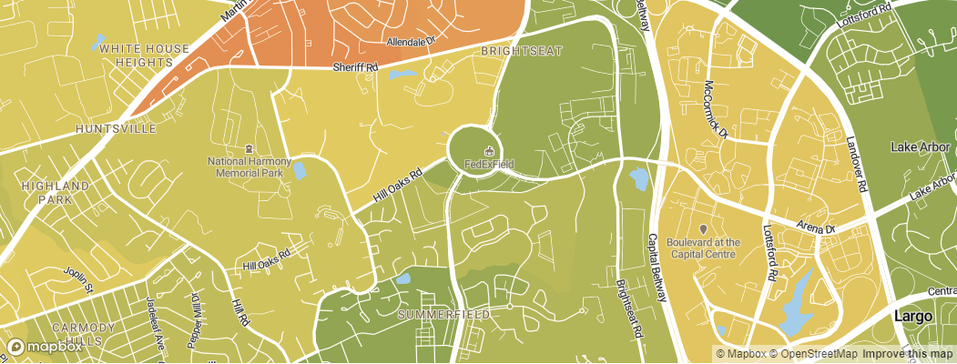 Neighborhoods near the Washington Redskins FedEx Field