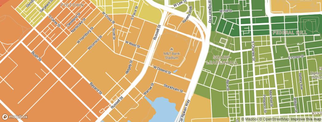 Neighborhoods near the Baltimore Ravens M&T Bank Stadium