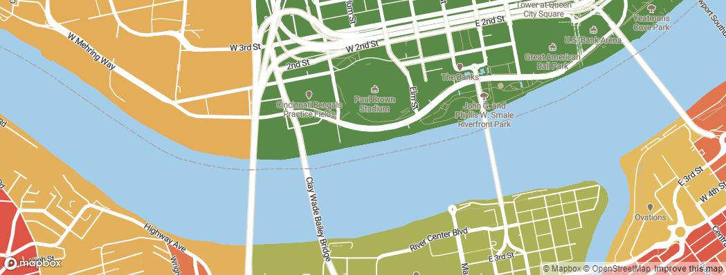 Neighborhoods near the Cincinnati Bengals Paul Brown Stadium