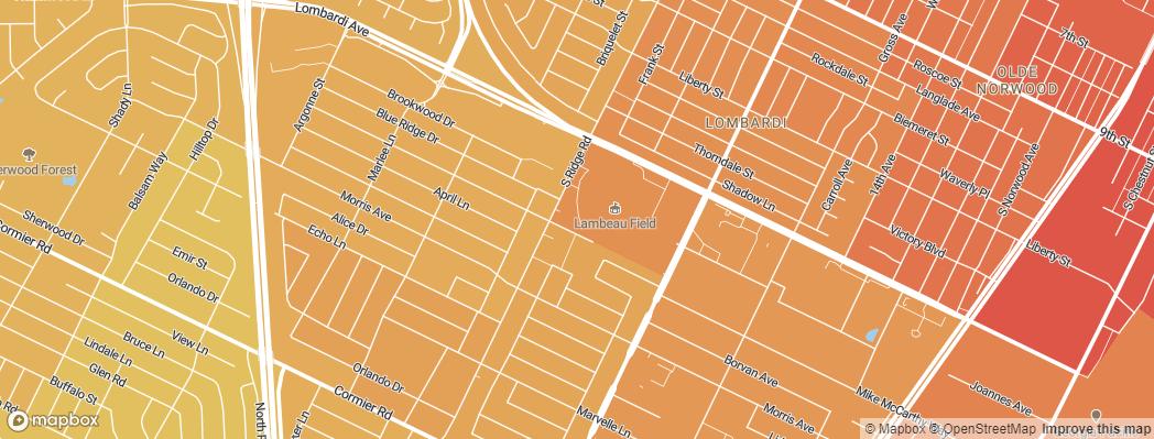 Neighborhoods near the Green Bay Packers Lambeau Field