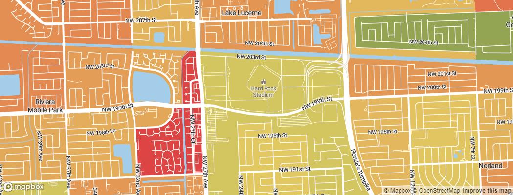 Neighborhoods near the Miami Dolphins Hard Rock Stadium